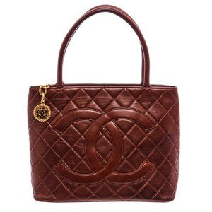 Chanel Brown Quilted Leather Medallion Tote Bag